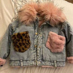 Jackets & Blazers - Denim fur coat
